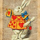 White Rabbit with Trumpet,Alice in Wonderland,Vintage Dictionary Book Page Art by DictionaryArt