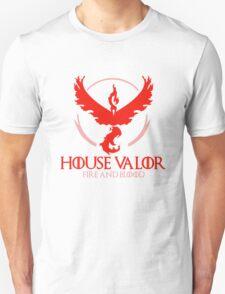 House Valor (GOT + Pokemon GO) Red text Unisex T-Shirt