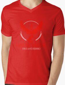 House Valor (GOT + Pokemon GO) Red text Mens V-Neck T-Shirt