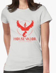 House Valor (GOT + Pokemon GO) Red text Womens Fitted T-Shirt