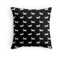 Airliner silhouette wallpaper white on black Throw Pillow