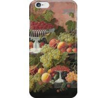 Severin Roesen - Two Tiered Still Life With Fruit And Sunset Landscape. Still life with fruits: strawberries , champagne,lemon, grapes , cherries, peaches, apples, pears, apricots, raspberries, vase iPhone Case/Skin