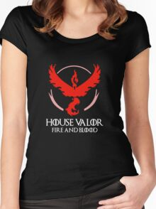 House Valor (GOT + Pokemon GO) White text Women's Fitted Scoop T-Shirt