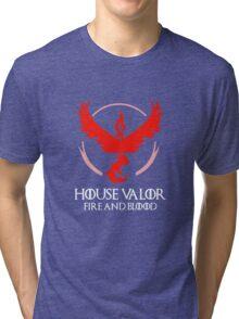 House Valor (GOT + Pokemon GO) White text Tri-blend T-Shirt