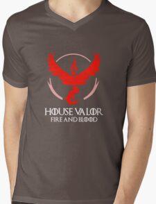 House Valor (GOT + Pokemon GO) White text Mens V-Neck T-Shirt