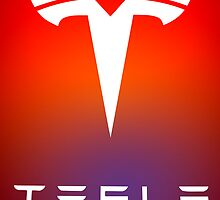 TESLA MOTORS LOGO RED RAINBOW by geekuniverse