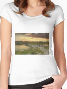Thomas Moran - The Old Bridge Over Hook Pond, East Hampton, Long Island 1907. Country landscape: village view, country, buildings, house, rustic, farm, field, countryside road, trees, garden, flowers Women's Fitted Scoop T-Shirt