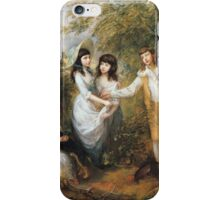 Thomas Gainsborough - The Marsham Children 1787. Children portrait: Children, cute girls, child, nature, beautiful dress, face with hairs, smile, little, kids, dogs, weekend iPhone Case/Skin
