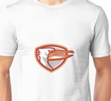 Angry Pelican Head Shield Retro Unisex T-Shirt
