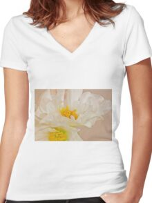 White Begonia Ruffles  Women's Fitted V-Neck T-Shirt