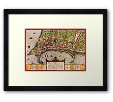 Ancona Vintage map.Geography Italy ,city view,building,political,Lithography,historical fashion,geo design,Cartography,Country,Science,history,urban Framed Print