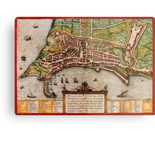 Ancona Vintage map.Geography Italy ,city view,building,political,Lithography,historical fashion,geo design,Cartography,Country,Science,history,urban Metal Print