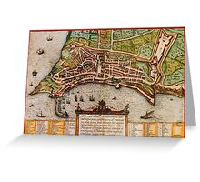 Ancona Vintage map.Geography Italy ,city view,building,political,Lithography,historical fashion,geo design,Cartography,Country,Science,history,urban Greeting Card