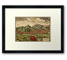 Antequera Vintage map.Geography Spain ,city view,building,political,Lithography,historical fashion,geo design,Cartography,Country,Science,history,urban Framed Print