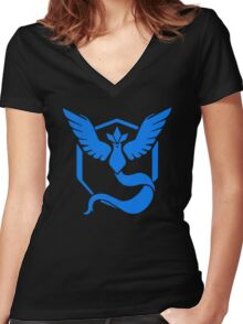 Pokemon Go - Team Mystic (Articuno Logo) Women's Fitted V-Neck T-Shirt