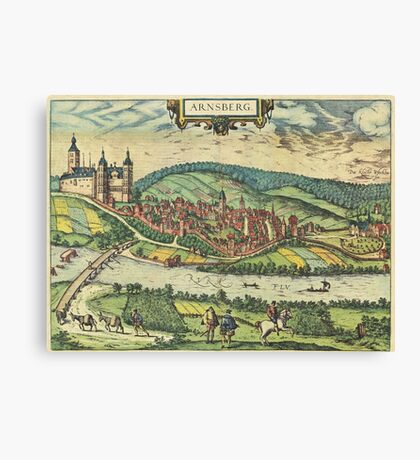 Arnsberg Vintage map.Geography Germany ,city view,building,political,Lithography,historical fashion,geo design,Cartography,Country,Science,history,urban Canvas Print