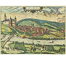 Arnsberg Vintage map.Geography Germany ,city view,building,political,Lithography,historical fashion,geo design,Cartography,Country,Science,history,urban Photographic Print