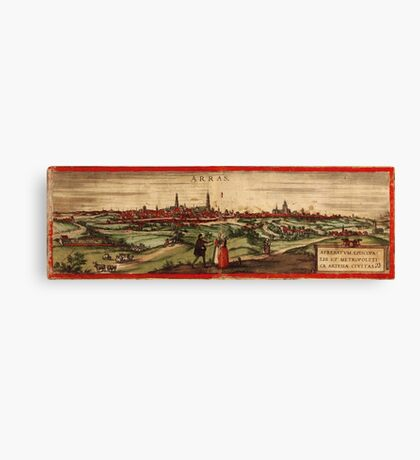 Arras Vintage map.Geography France ,city view,building,political,Lithography,historical fashion,geo design,Cartography,Country,Science,history,urban Canvas Print