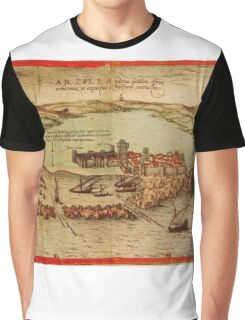 Asilah Vintage map.Geography Morocco ,city view,building,political,Lithography,historical fashion,geo design,Cartography,Country,Science,history,urban Graphic T-Shirt