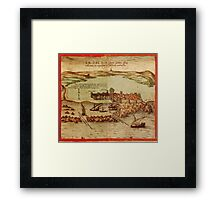 Asilah Vintage map.Geography Morocco ,city view,building,political,Lithography,historical fashion,geo design,Cartography,Country,Science,history,urban Framed Print
