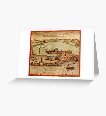 Asilah Vintage map.Geography Morocco ,city view,building,political,Lithography,historical fashion,geo design,Cartography,Country,Science,history,urban Greeting Card