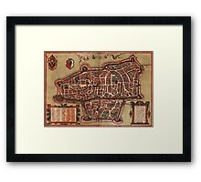 Augsburg Vintage map.Geography Germany ,city view,building,political,Lithography,historical fashion,geo design,Cartography,Country,Science,history,urban Framed Print