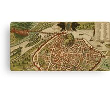 Avignon Vintage map.Geography France ,city view,building,political,Lithography,historical fashion,geo design,Cartography,Country,Science,history,urban Canvas Print