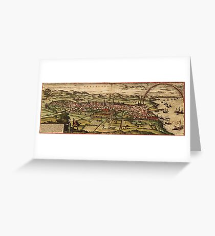 Barcelona Vintage map.Geography Spain ,city view,building,political,Lithography,historical fashion,geo design,Cartography,Country,Science,history,urban Greeting Card