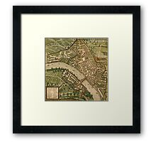 Basel 2 Vintage map.Geography Switzerland ,city view,building,political,Lithography,historical fashion,geo design,Cartography,Country,Science,history,urban Framed Print