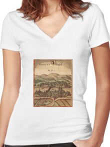 Basel Vintage map.Geography Switzerland ,city view,building,political,Lithography,historical fashion,geo design,Cartography,Country,Science,history,urban Women's Fitted V-Neck T-Shirt