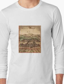 Basel Vintage map.Geography Switzerland ,city view,building,political,Lithography,historical fashion,geo design,Cartography,Country,Science,history,urban Long Sleeve T-Shirt