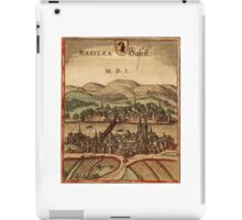Basel Vintage map.Geography Switzerland ,city view,building,political,Lithography,historical fashion,geo design,Cartography,Country,Science,history,urban iPad Case/Skin