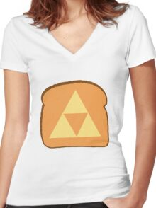 Triforce toast Women's Fitted V-Neck T-Shirt