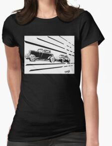 1932 Ford and 1941 Willys HotRods - Pen and Ink Womens Fitted T-Shirt