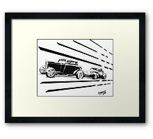 1932 Ford and 1941 Willys HotRods - Pen and Ink Framed Print