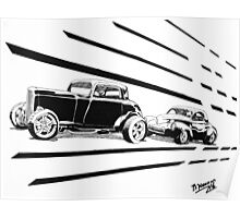 1932 Ford and 1941 Willys HotRods - Pen and Ink Poster