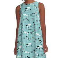 Modern Jazz - Blue Green #80c6c6 A-Line Dress