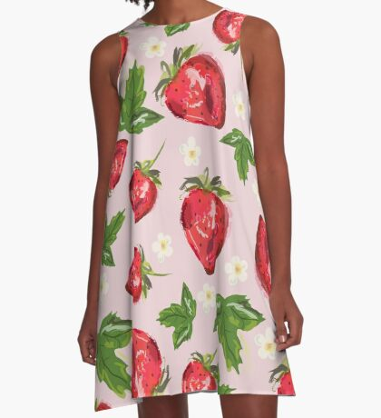 Strawberry Botanical A-Line Dress