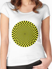 Op Art - Yellow and Black Women's Fitted Scoop T-Shirt