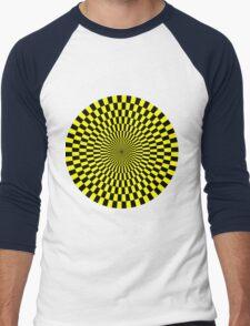 Op Art - Yellow and Black Men's Baseball ¾ T-Shirt