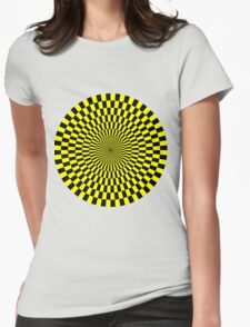 Op Art - Yellow and Black Womens Fitted T-Shirt