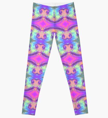 Fractal pastel rainbow kaleidoscope pattern Leggings