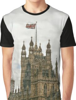 Union Jack Flying Over the House of Parliament Graphic T-Shirt