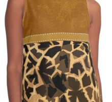 Graphic Giraffe Print and Digital Brown Leather Contrast Tank
