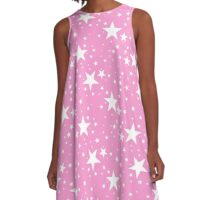 Precious Pink with White Stars Pattern A-Line Dress