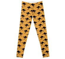 Kangaroo wallpaper - yellow background Leggings