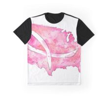 Watercolor Breast Cancer Map of the United States Graphic T-Shirt