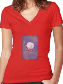 Painted Rose - Rectangular Image Women's Fitted V-Neck T-Shirt