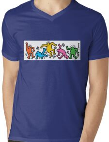 Keith Haring Color People Mens V-Neck T-Shirt