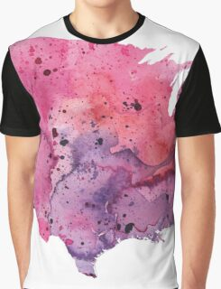 Map of the United States with Watercolor Texture in Pink and Purple Graphic T-Shirt
